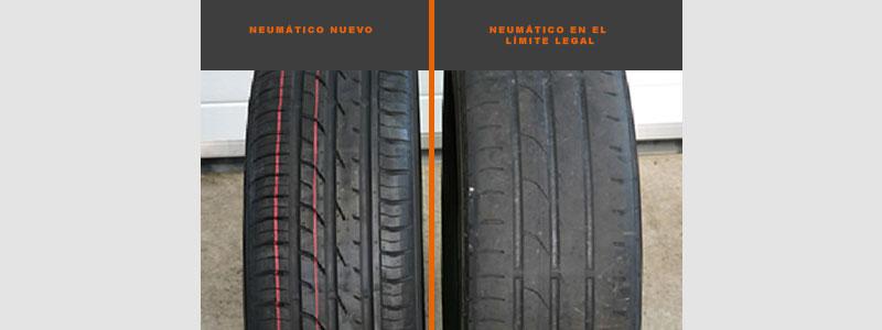 neumático nuevo y usado